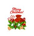 christmas holiday garland with santa gift bag icon vector image vector image