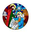 circle shape with birth jesus christ scene vector image