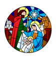 circle shape with the birth of jesus christ scene vector image