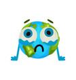 cute cartoon unhappy earth planet emoji humanized vector image vector image