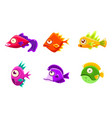 cute colorful glossy fishes set funny big eyed vector image