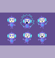 cute robot character set adorable robotics vector image vector image