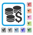dollar coins framed icon vector image