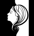 female portrait in profile with long hair vector image vector image