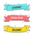 flat linear promotion ribbon banner scroll pric vector image vector image