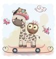 Giraffe and owl vector image vector image