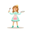 Girl Painter With Paint Wearing A Crown Children vector image vector image