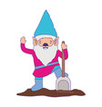 gnome with colorful costume and shovel with purple vector image vector image