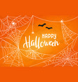 halloween background with cobweb happy vector image
