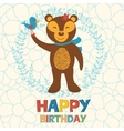 Happy birthday card with happy bear and bird vector image vector image