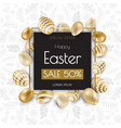 happy easter background with realistic golden vector image vector image