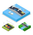 isometric urban bridge road with cars and boat vector image vector image