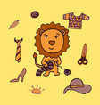 lovely colorful lion needlewoman knits a scarf vector image