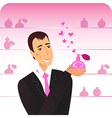 man with pink perfume flacon vector image