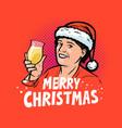 merry christmas greeting card pop art retro comic vector image vector image