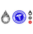 outbreak collage virus drop icon with medical vector image vector image