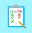 pros and cons tablet with pencil vector image vector image
