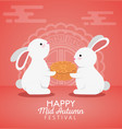 rabbits together with cookie and chinese vector image vector image