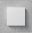 realistic cardboard box square white mockup paper vector image vector image