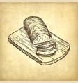 retro style of ciabatta bread vector image vector image