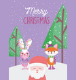 santa fox and rabbit lights trees snow merry vector image vector image