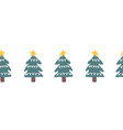 seamless christmas doodle tree border hand vector image vector image