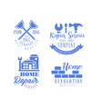 set of monochrome emblems for repair services vector image vector image