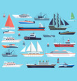 ships in harbor shipping speedboating cruiser vector image