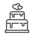 stacked cake line icon dessert and love vector image vector image