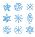 thin line christmas design element set vector image vector image