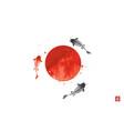 three big koi carps and big red sun symbol vector image vector image