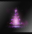 transparent christmas tree from light and sparks vector image