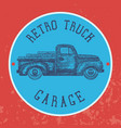vintage garage background old retro pick-up truck vector image