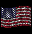 waving american flag stylization of delivery lorry vector image vector image