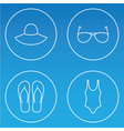 womens beachwear outline icon set vector image