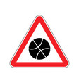 basketball warning sign red game hazard attention vector image vector image