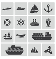 Black ship and boat icons set