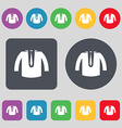 casual jacket icon sign A set of 12 colored vector image vector image