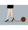 Chained business woman vector image vector image