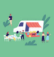 cheerful friends relaxing together enjoying picnic vector image vector image