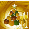 Christmas background with champagne and bauble vector image vector image