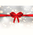 christmas background with glossy red bow vector image vector image