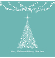 christmas greeting light snowflake tree vector image vector image