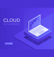 cloud server banner laptop with cloud icon vector image vector image