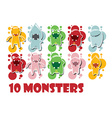 Collection of cute colorful monsters vector image vector image