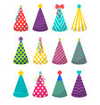 colorful party hats set vector image vector image