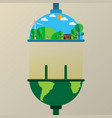 connecting the earth to nature flat line style vector image