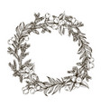 decorative wreath made of branches and cones of vector image