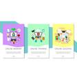 distance education set banners online courses vector image vector image