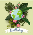earth day planets in a stylized tropical leaves vector image